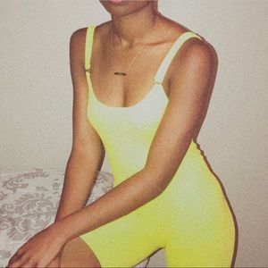 yellow strapped romper
